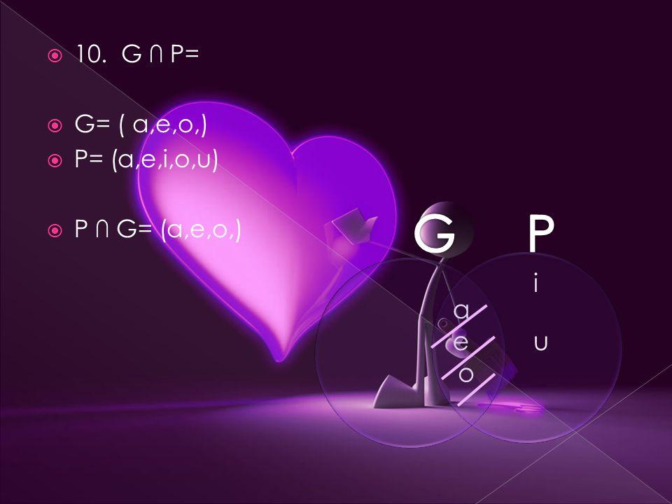  10. G ∩ P=  G= ( a,e,o,)  P= (a,e,i,o,u)  P ∩ G= (a,e,o,) i u a e o