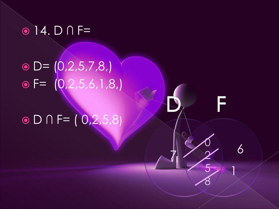  14. D ∩ F=  D= (0,2,5,7,8,)  F= (0,2,5,6,1,8,)  D ∩ F= ( 0,2,5,8 ) 7 6 1 02580258
