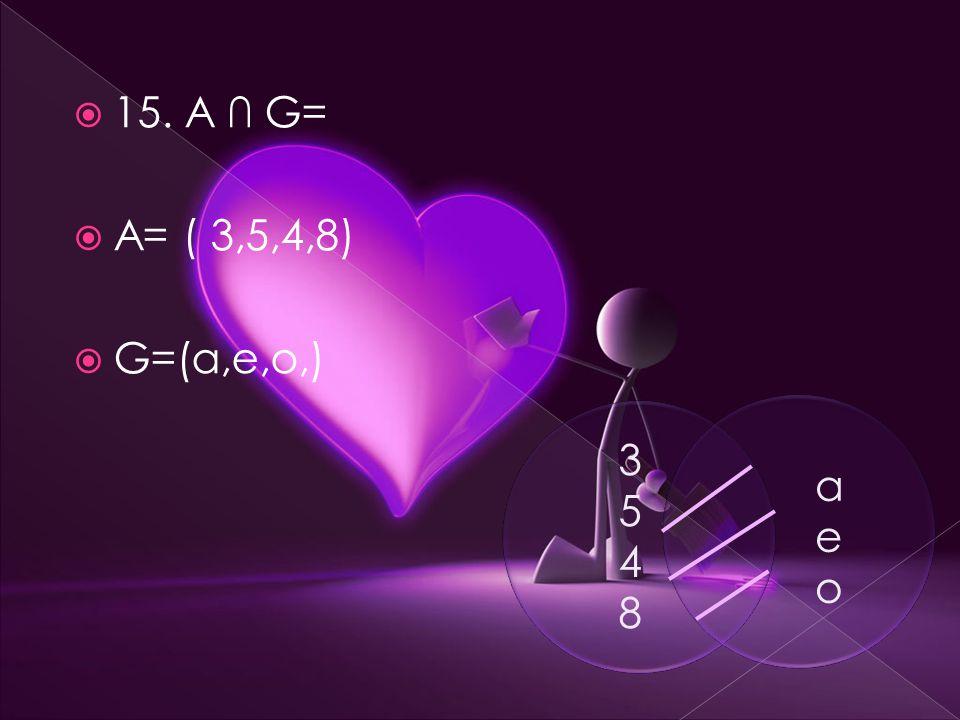  15. A ∩ G=  A= ( 3,5,4,8)  G=(a,e,o,) 35483548 aeoaeo