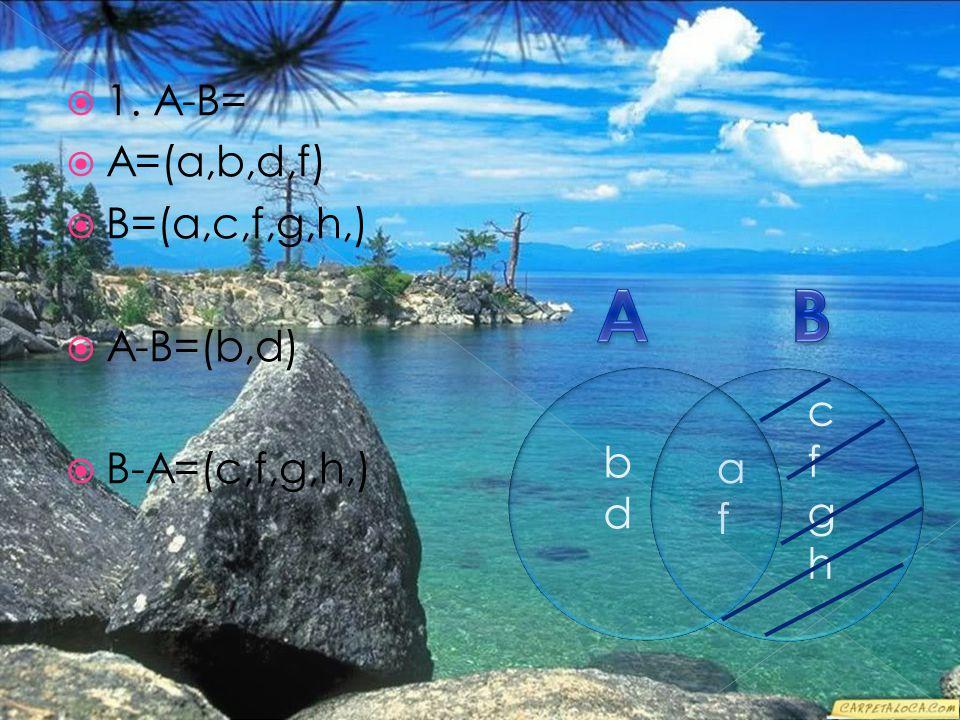  1. A-B=  A=(a,b,d,f)  B=(a,c,f,g,h,)  A-B=(b,d)  B-A=(c,f,g,h,) bdbd cfghcfgh afaf