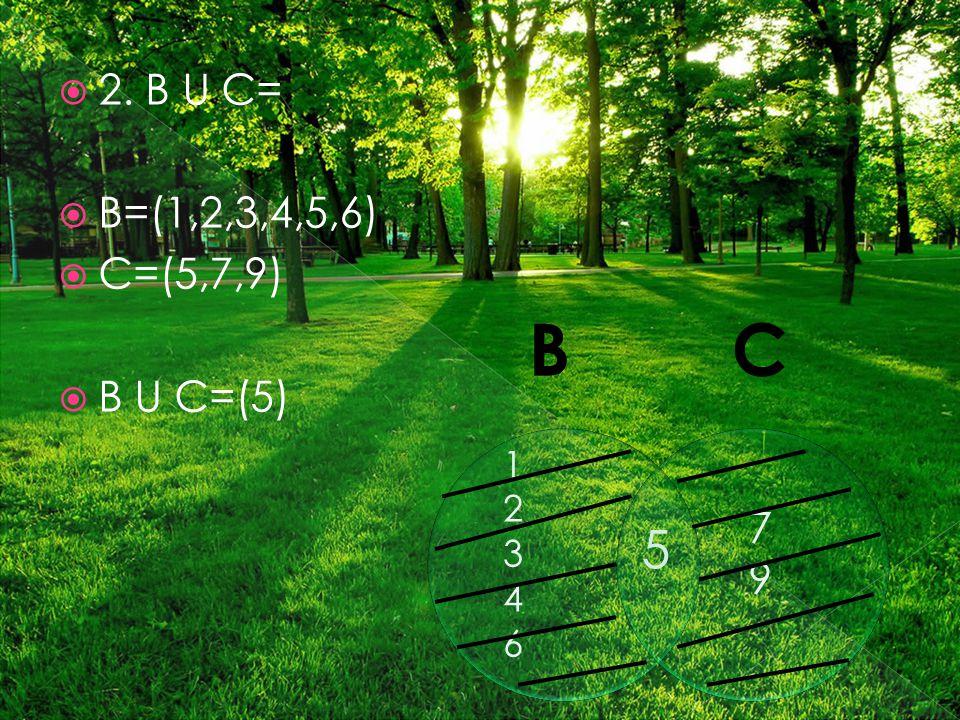  2. B U C=  B=(1,2,3,4,5,6)  C=(5,7,9)  B U C=(5) 1234612346 5 7979