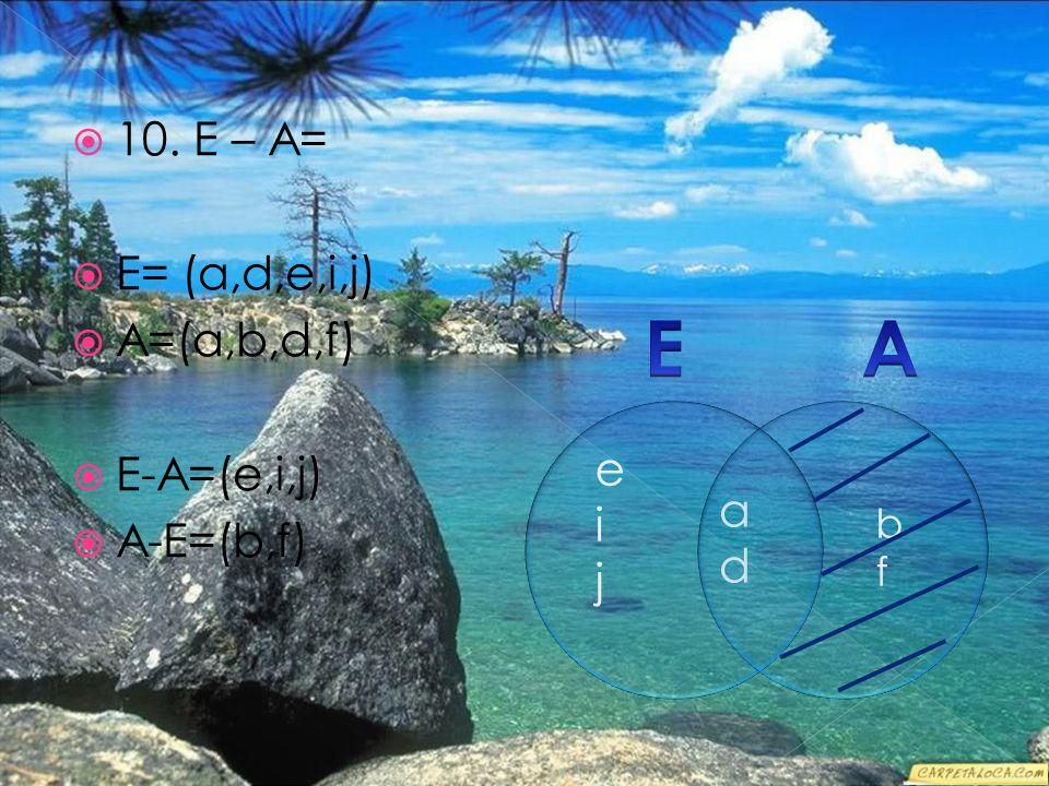  10. E – A=  E= (a,d,e,i,j)  A=(a,b,d,f)  E-A=(e,i,j)  A-E=(b,f) eijeij bfbf adad
