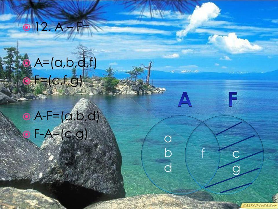 12. A – F=  A=(a,b,d,f)  F=(c,f,g)  A-F=(a,b,d)  F-A=(c,g) f abdabd cgcg