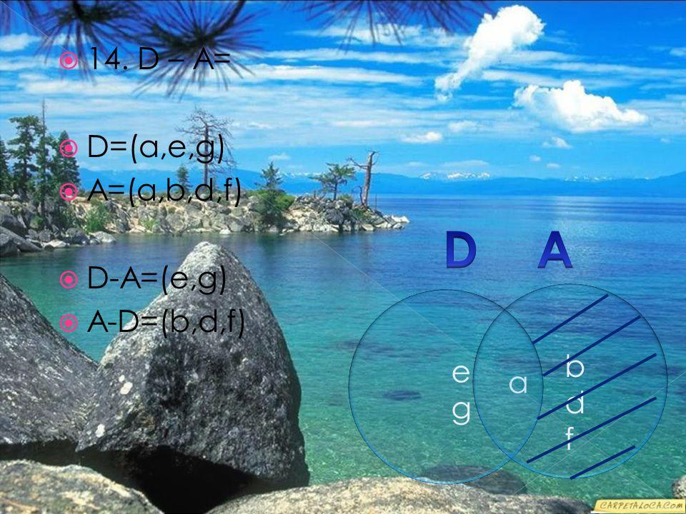  14. D – A=  D=(a,e,g)  A=(a,b,d,f)  D-A=(e,g)  A-D=(b,d,f) a egeg bdfbdf