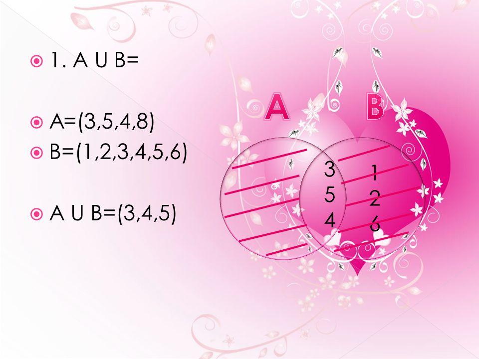  1. A U B=  A=(3,5,4,8)  B=(1,2,3,4,5,6)  A U B=(3,4,5) 8 126126 354354