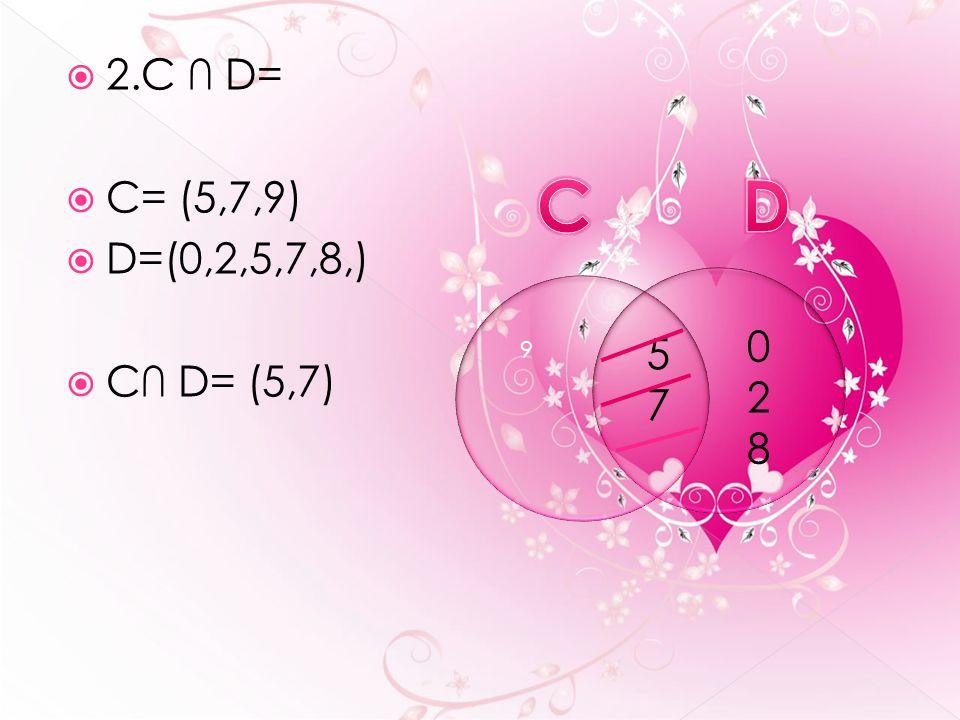  2.C ∩ D=  C= (5,7,9)  D=(0,2,5,7,8,)  C∩ D= (5,7) 5757 9 028028