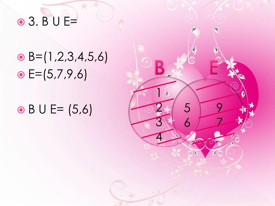  3. B U E=  B=(1,2,3,4,5,6)  E=(5,7,9,6)  B U E= (5,6) 5656 12341234 9797
