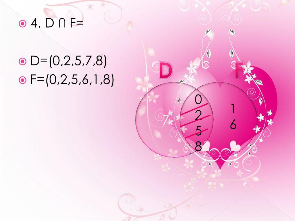 4. D ∩ F=  D=(0,2,5,7,8)  F=(0,2,5,6,1,8) 02580258 7 1616
