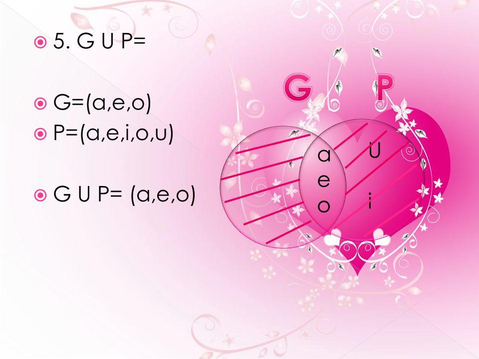  5. G U P=  G=(a,e,o)  P=(a,e,i,o,u)  G U P= (a,e,o) aeoaeo U iU i