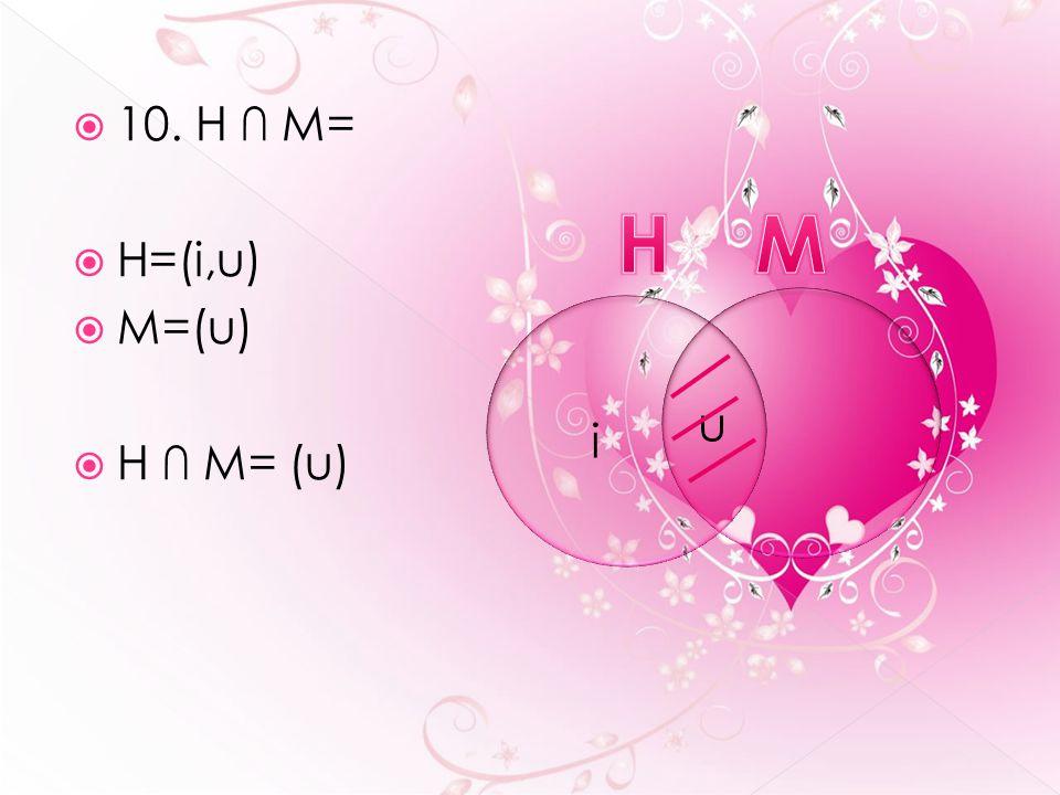  10. H ∩ M=  H=(i,u)  M=(u)  H ∩ M= (u) u i