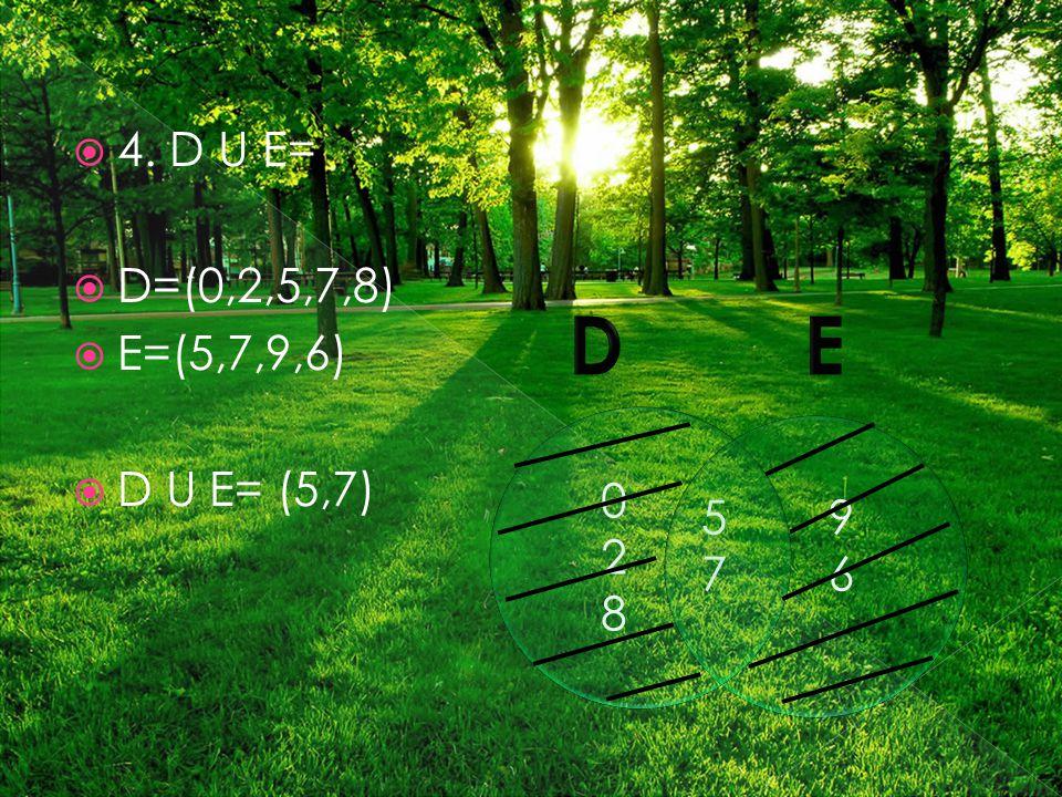  4. D U E=  D=(0,2,5,7,8)  E=(5,7,9,6)  D U E= (5,7) 028028 5757 9696