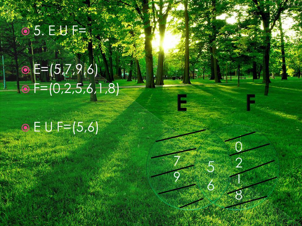  5. E U F=  E=(5,7,9,6)  F=(0,2,5,6,1,8)  E U F=(5,6) 7979 02180218 5656