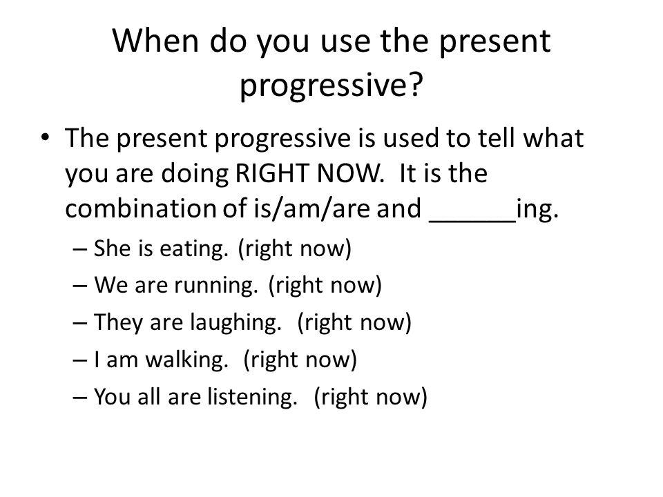 Forming the present progressive In order to form the present progressive you need 2 PARTS The first part you need is the verb Estar – The conjugated verb estar EstoyEstamos EstásEstáis EstáEstán