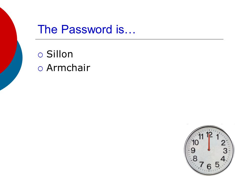The Password is…  Sofa