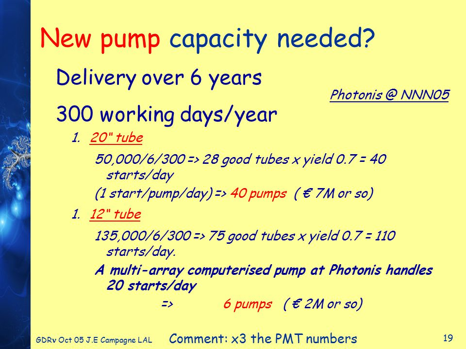 GDR Oct 05 J.E Campagne LAL 19 New pump capacity needed.