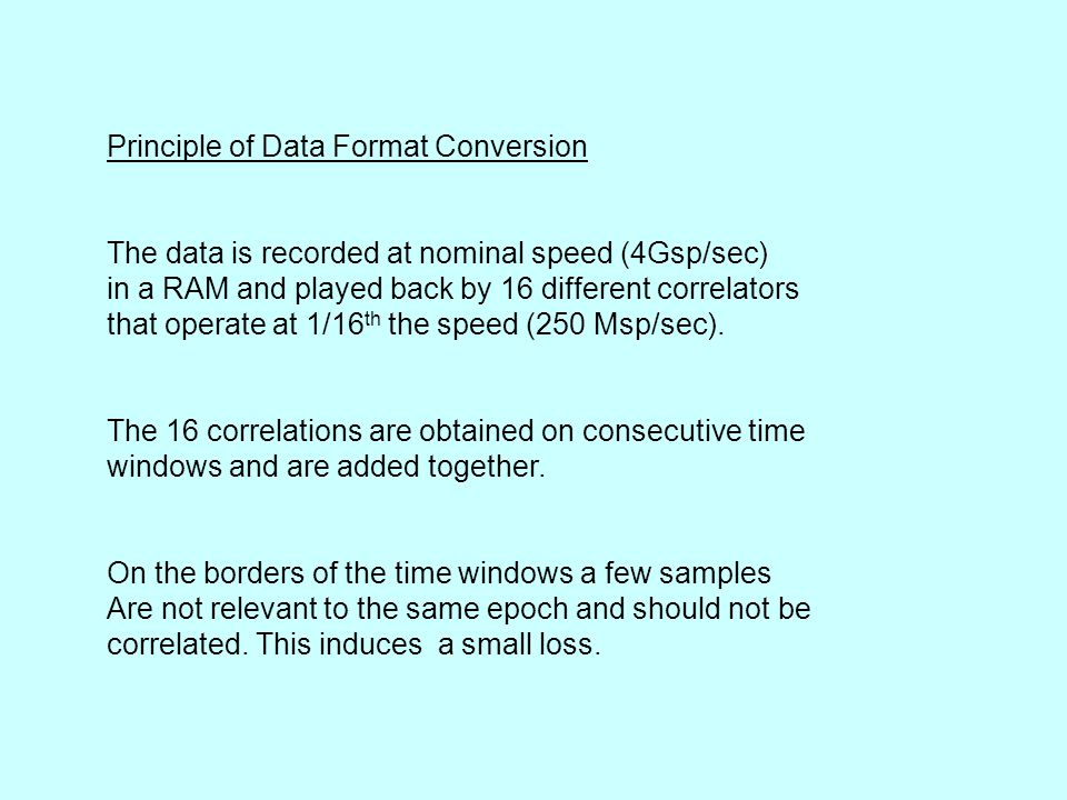 Principle of Data Format Conversion The data is recorded at nominal speed (4Gsp/sec) in a RAM and played back by 16 different correlators that operate at 1/16 th the speed (250 Msp/sec).