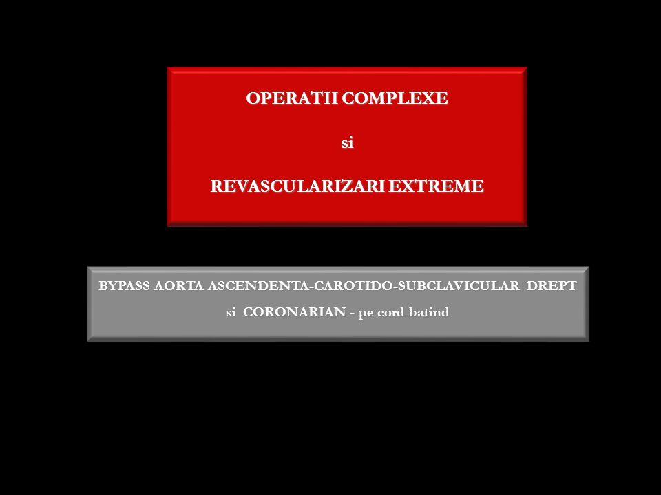 OPERATII COMPLEXE si REVASCULARIZARI EXTREME BYPASS AORTA ASCENDENTA-CAROTIDO-SUBCLAVICULAR DREPT si CORONARIAN - pe cord batind