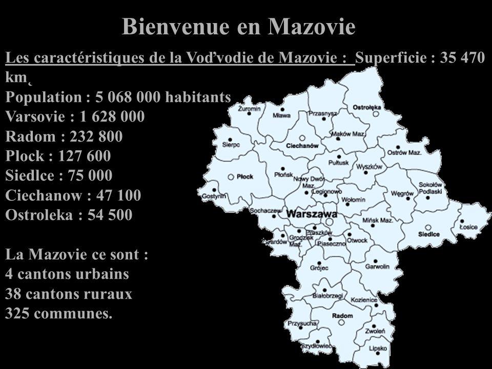 Les caractéristiques de la Voďvodie de Mazovie : Superficie : 35 470 km˛ Population : 5 068 000 habitants Varsovie : 1 628 000 Radom : 232 800 Plock : 127 600 Siedlce : 75 000 Ciechanow : 47 100 Ostroleka : 54 500 La Mazovie ce sont : 4 cantons urbains 38 cantons ruraux 325 communes.