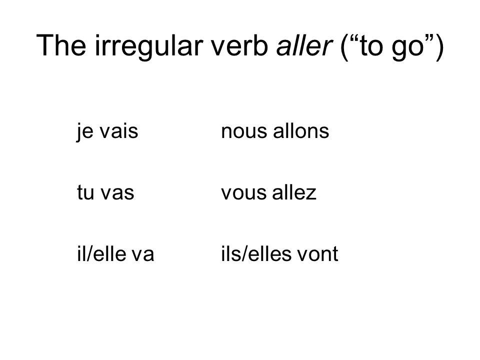 The irregular verb aller ( to go ) je vaisnous allons tu vasvous allez il/elle vails/elles vont