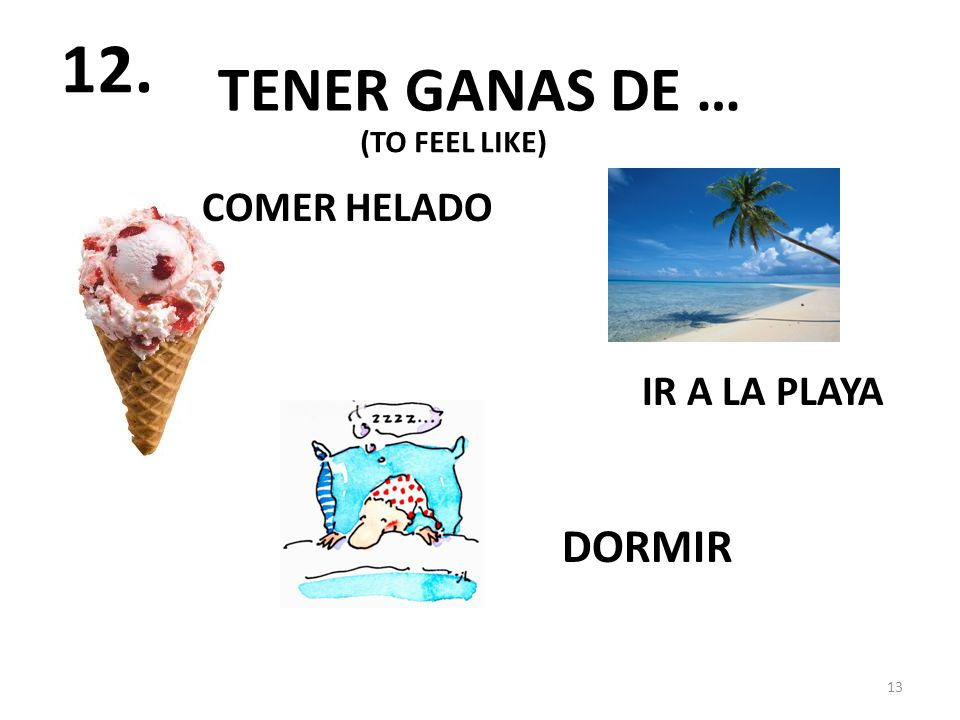 TENER GANAS DE … COMER HELADO DORMIR IR A LA PLAYA 13 12. (TO FEEL LIKE)