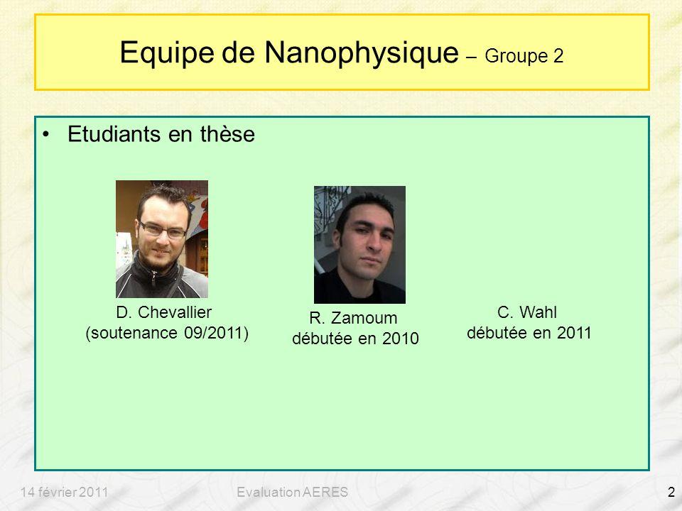 14 février 2011Evaluation AERES2 Equipe de Nanophysique – Groupe 2 Etudiants en thèse D.
