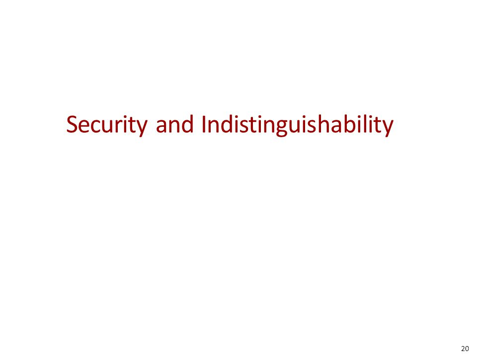 Security and Indistinguishability 20