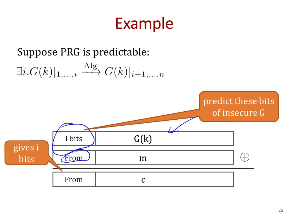 Example Suppose PRG is predictable: 25 \exists i.