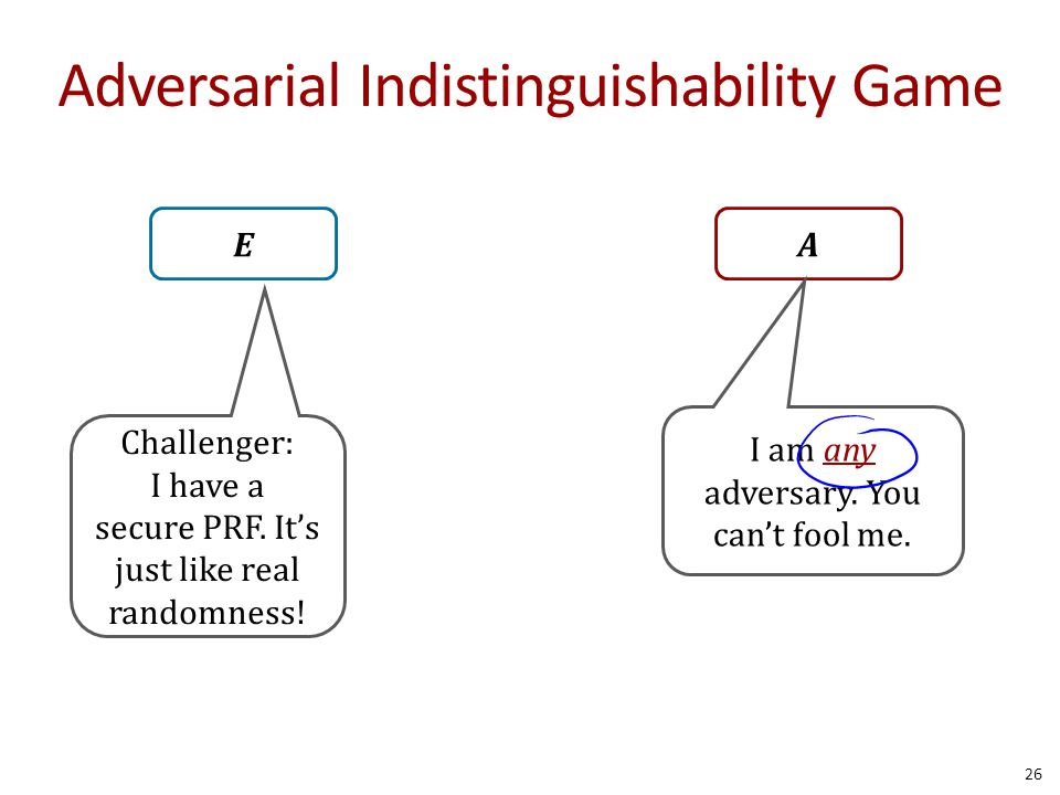 Adversarial Indistinguishability Game 26 EA Challenger: I have a secure PRF. It's just like real randomness! I am any adversary. You can't fool me.