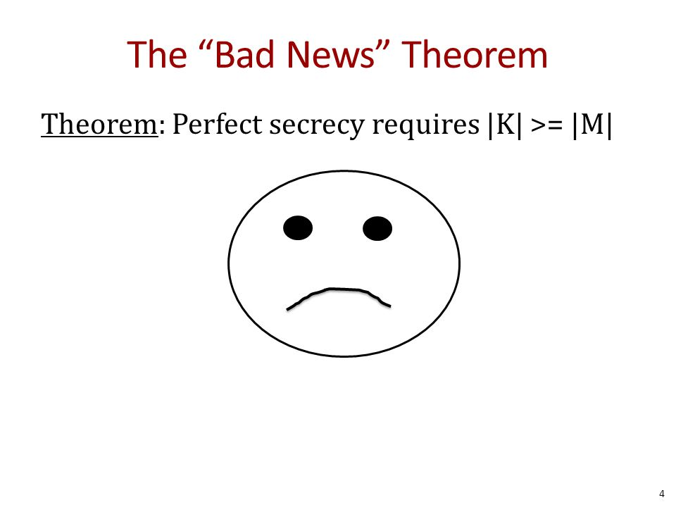 The Bad News Theorem Theorem: Perfect secrecy requires |K| >= |M| 4