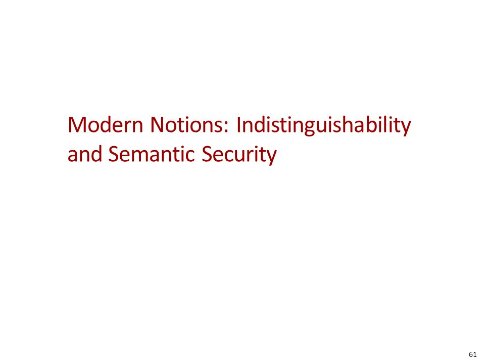 Modern Notions: Indistinguishability and Semantic Security 61