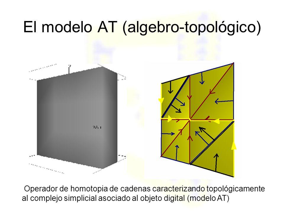 El modelo AT (algebro-topológico) Operador de homotopia de cadenas caracterizando topológicamente al complejo simplicial asociado al objeto digital (modelo AT)