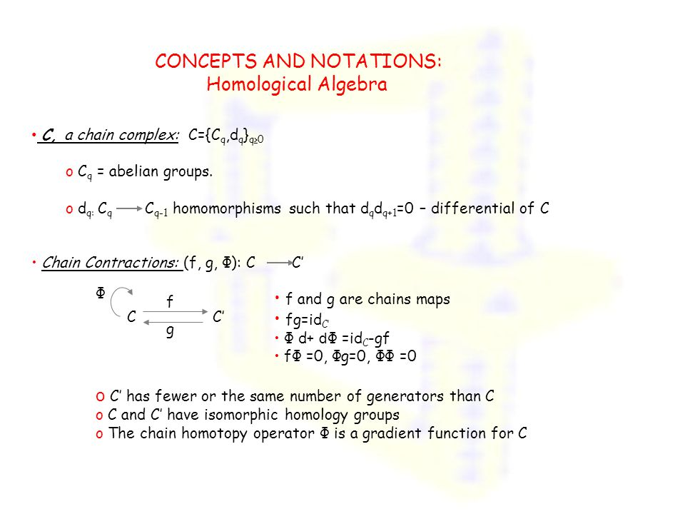 CONCEPTS AND NOTATIONS: Homological Algebra C, a chain complex: C={C q,d q } q≥0 o C q = abelian groups. o d q: C q C q-1 homomorphisms such that d q