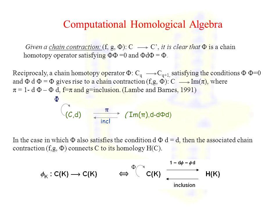 Computational Homological Algebra Reciprocaly, a chain homotopy operator Φ: C q C q+1, satisfying the conditions Φ Φ=0 and Φ d Φ = Φ gives rise to a chain contraction (f,g, Φ): C Im(π), where π = 1- d Φ – Φ d, f=π and g=inclusion.