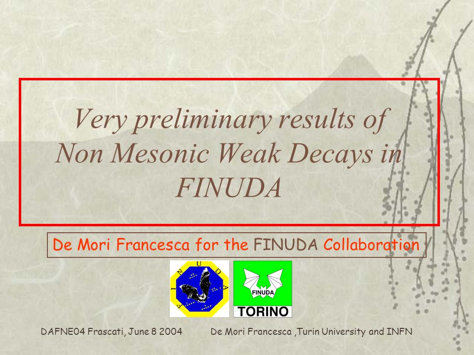 De Mori Francesca,Turin University and INFN DAFNE04 Frascati, June 8 2004 Very preliminary results of Non Mesonic Weak Decays in FINUDA De Mori Francesca for the FINUDA Collaboration