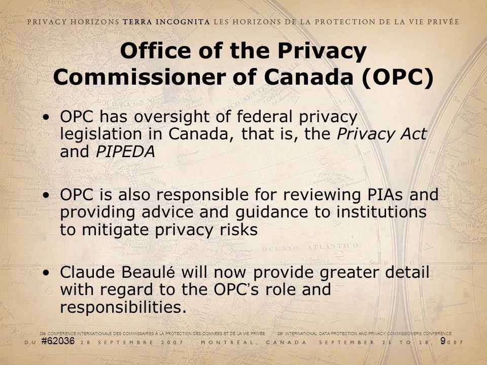 29e CONFÉRENCE INTERNATIONALE DES COMMISSAIRES À LA PROTECTION DES DONNÉES ET DE LA VIE PRIVÉE 29 th INTERNATIONAL DATA PROTECTION AND PRIVACY COMMISSIONERS CONFERENCE #6203610 PRIVACY IMPACT ASSESSMENT (PIA) WORKSHOP Part A: Getting Started Claude Beaulé Privacy Consultant, Quebec, Canada September 27, 2007