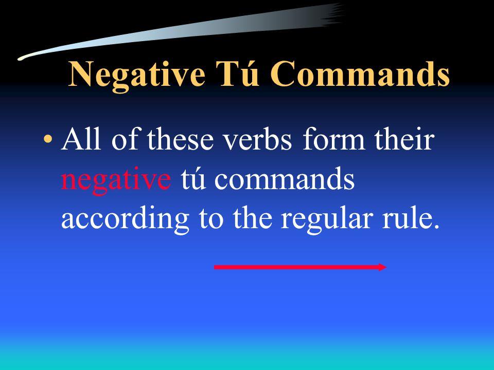 Negative Tú Commands caerse decir hacer poner salir tener traer