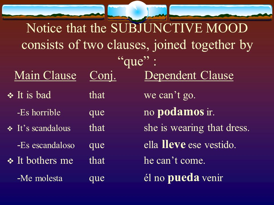 The SUBJUNCTIVE MOOD is subjective, it expresses feelings, judgments and emotions about an action.  It is bad that we can't go.  Es horrible que no