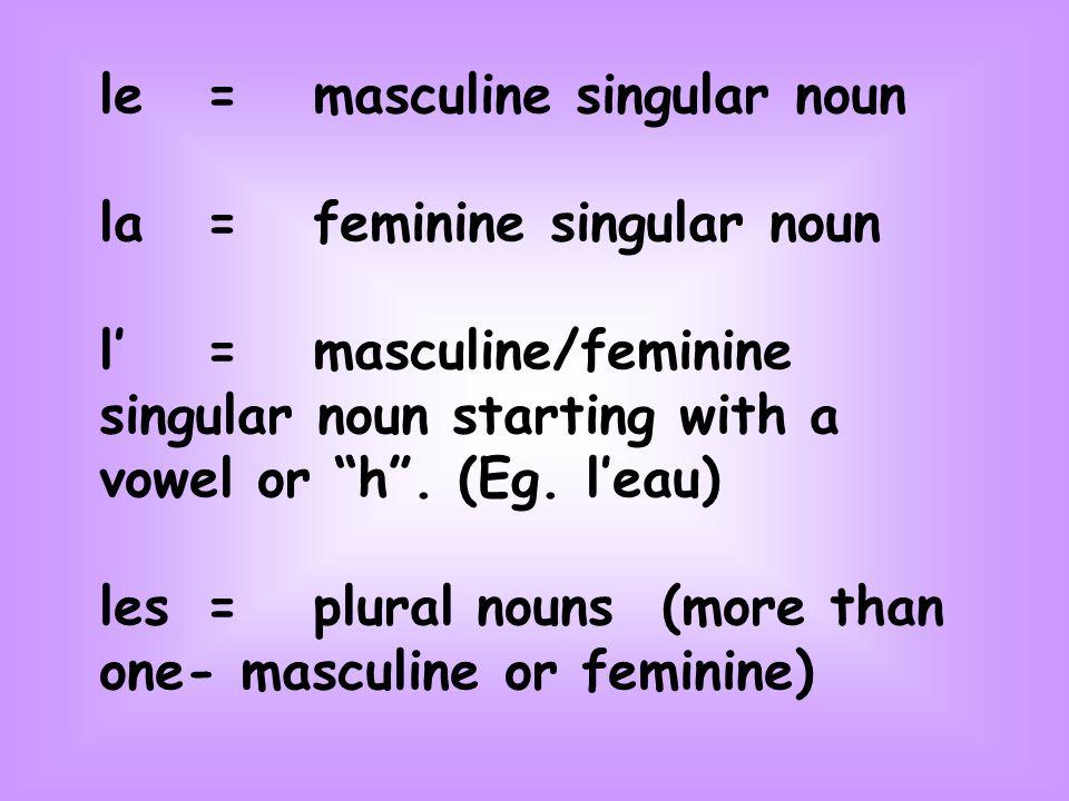 le=masculine singular noun la=feminine singular noun l'=masculine/feminine singular noun starting with a vowel or h .