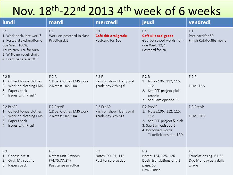 Nov. 18 th -22 nd 2013 4 th week of 6 weeks lundimardimercredijeudivendredi F 1 1.