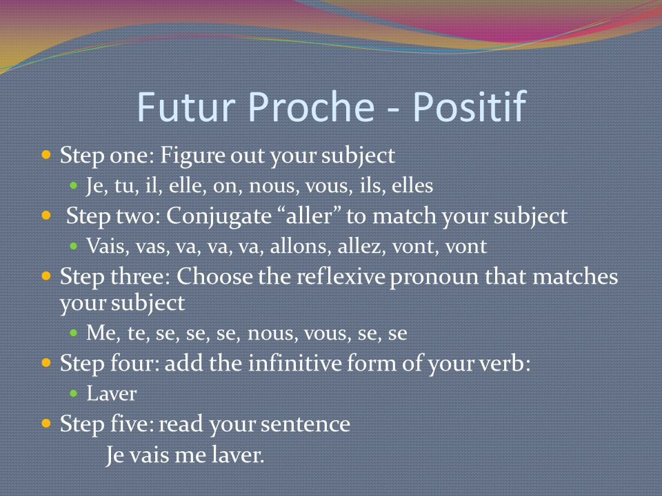 "Futur Proche - Positif Step one: Figure out your subject Je, tu, il, elle, on, nous, vous, ils, elles Step two: Conjugate ""aller"" to match your subjec"