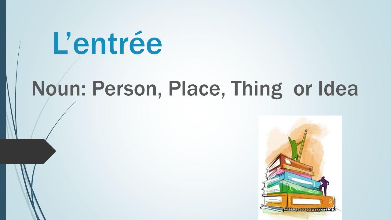 L'entrée Noun: Person, Place, Thing or Idea