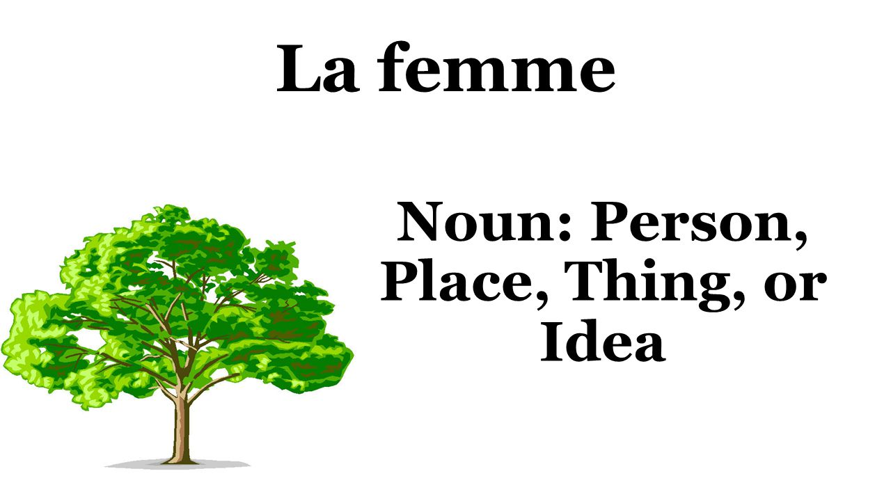 La femme Noun: Person, Place, Thing, or Idea