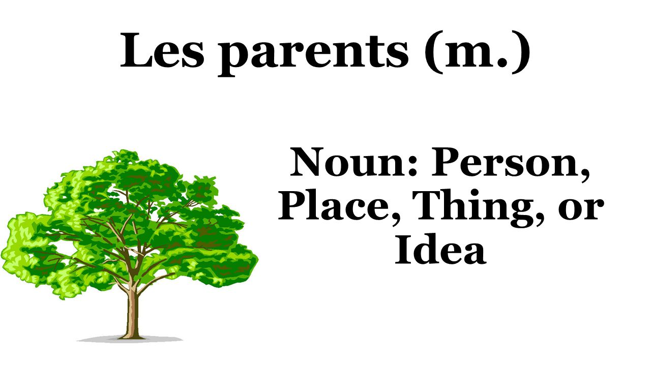 Les parents (m.) Noun: Person, Place, Thing, or Idea