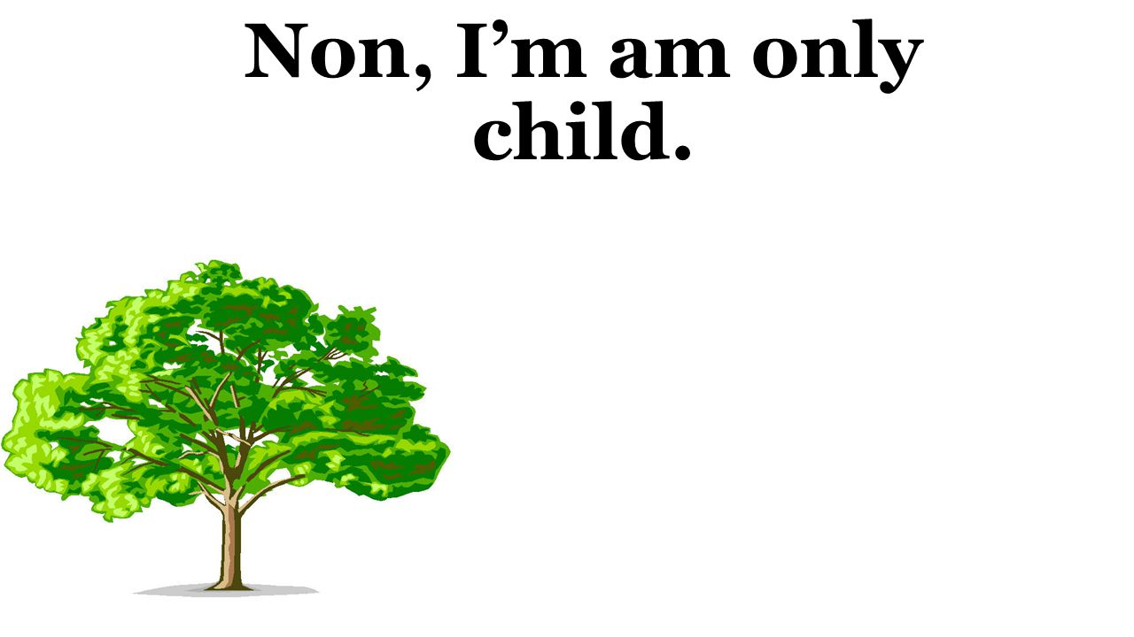 Non, I'm am only child.