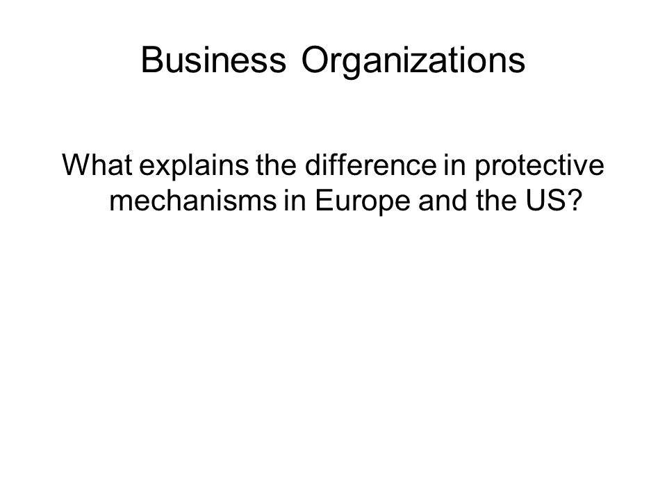 Business Organizations What explains the difference in protective mechanisms in Europe and the US