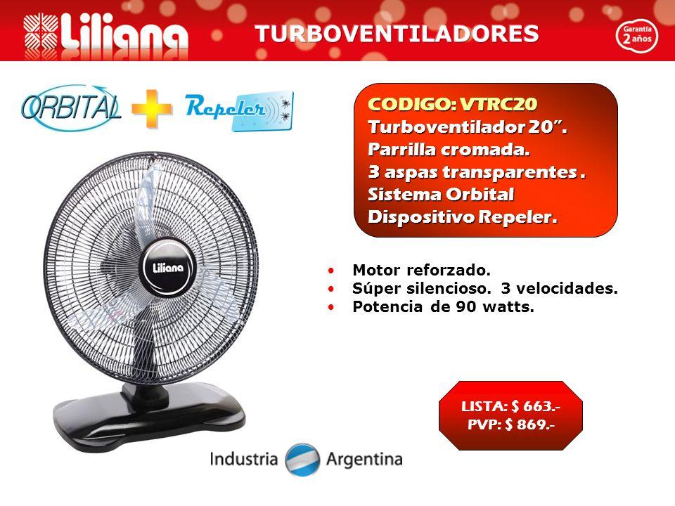 CODIGO: VTRC20 Turboventilador 20 . Parrilla cromada.