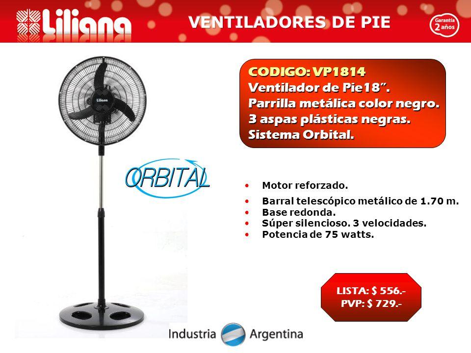 CODIGO: VP1814 Ventilador de Pie18 . Parrilla metálica color negro.