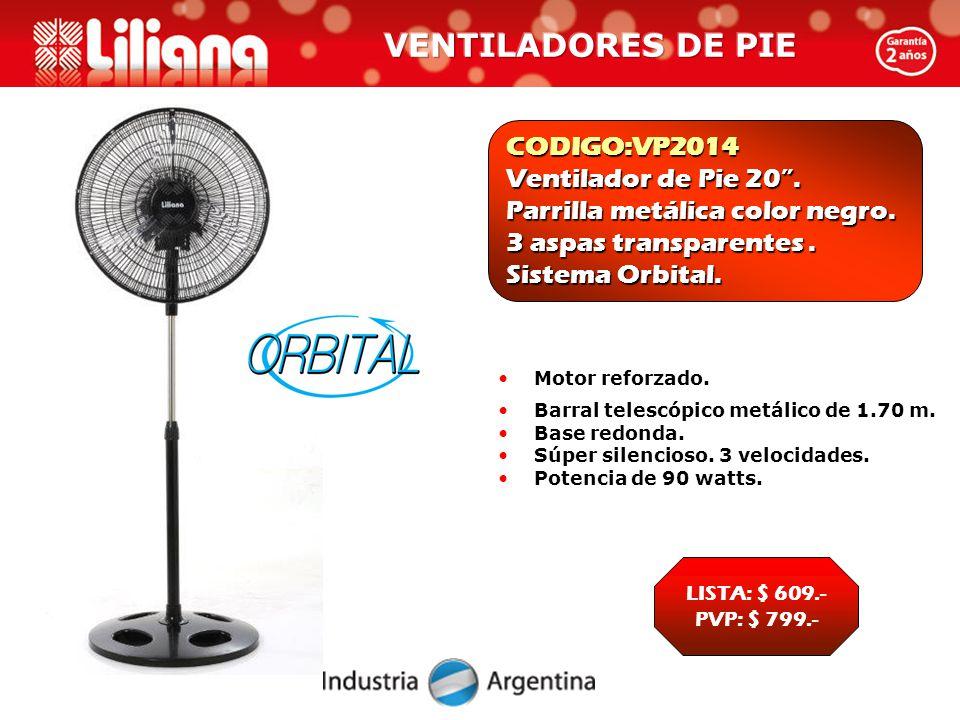 CODIGO:VP2014 Ventilador de Pie 20 . Parrilla metálica color negro.