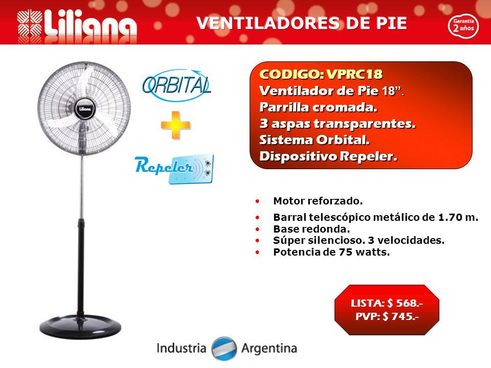 CODIGO: VPRC18 Ventilador de Pie 18 . Parrilla cromada.