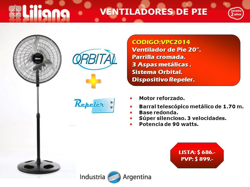 CODIGO:VPC2014 Ventilador de Pie 20 . Parrilla cromada.